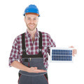 Confident Repairman Holding Solar Panel - PhotoDune Item for Sale