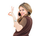 portrait young woman talk on a cellular telephone - PhotoDune Item for Sale
