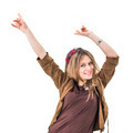 beautiful young woman with both arms on the air - PhotoDune Item for Sale