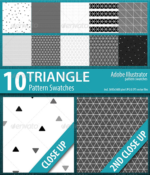 GraphicRiver 10 Triangle Seamless Pattern Swatches Vector 8415831