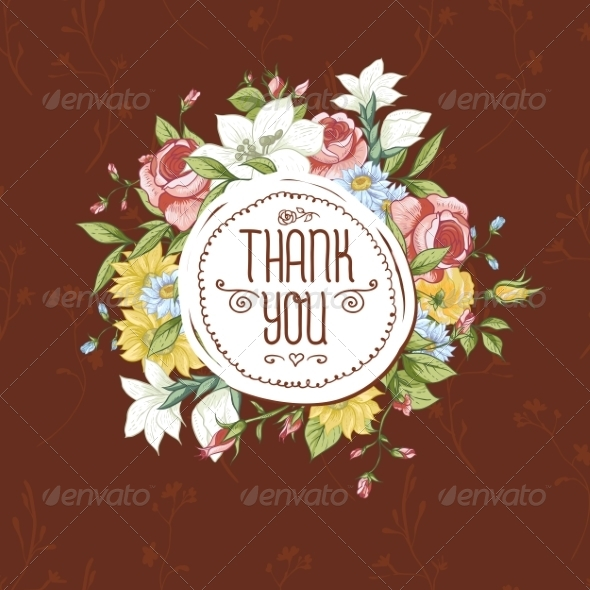 GraphicRiver Vintage Greeting Card with Flowers 8416034