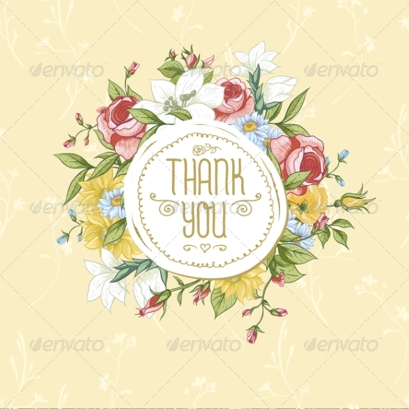 GraphicRiver Vintage Greeting Card with Flowers 8416036