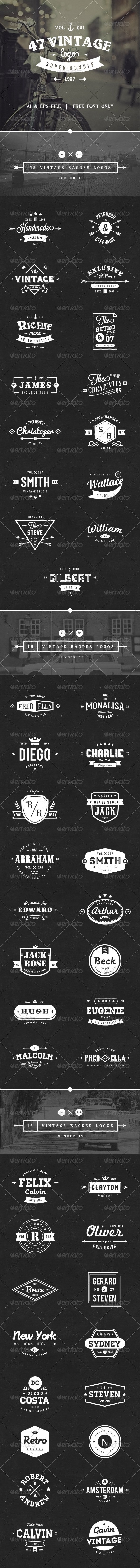 GraphicRiver 47 Vintage Logos Bundle 8411488