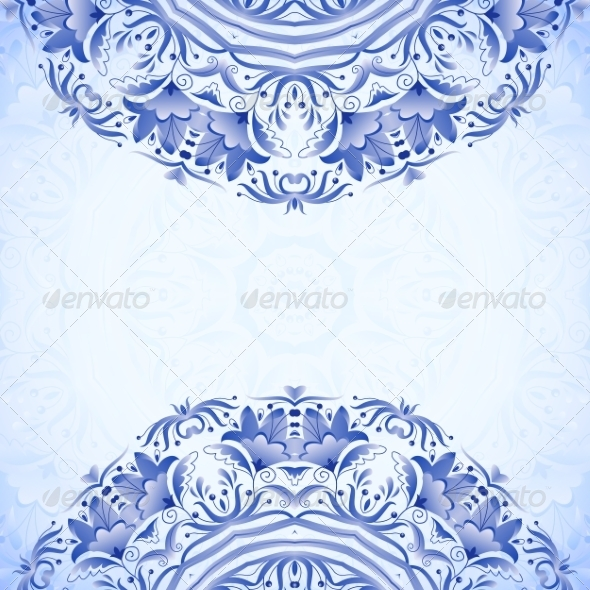 GraphicRiver Blue Template with Floral Pattern 8416508