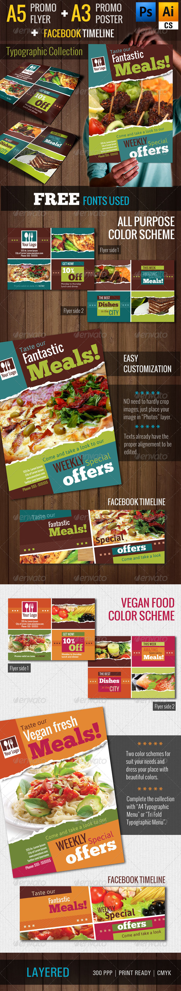 Typographic Restaurant Promo Poster/Flyer (A3/A5)