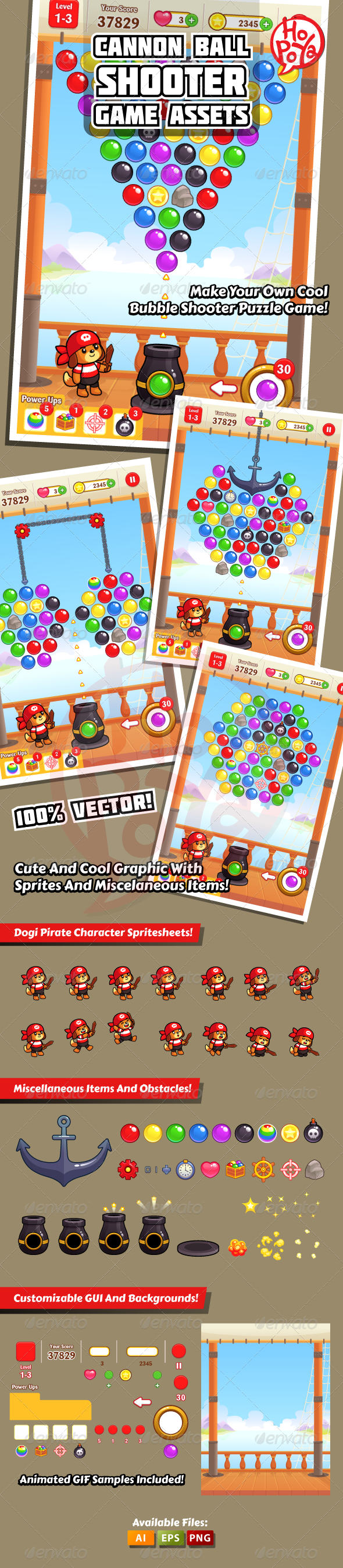 Cannon Ball Shooter Game Assets - Characters Vectors