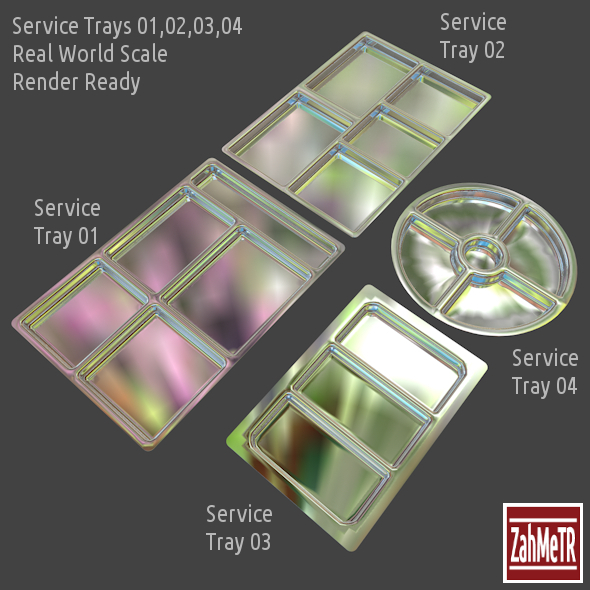 3DOcean Service Trays Set 4 Parts 8417035