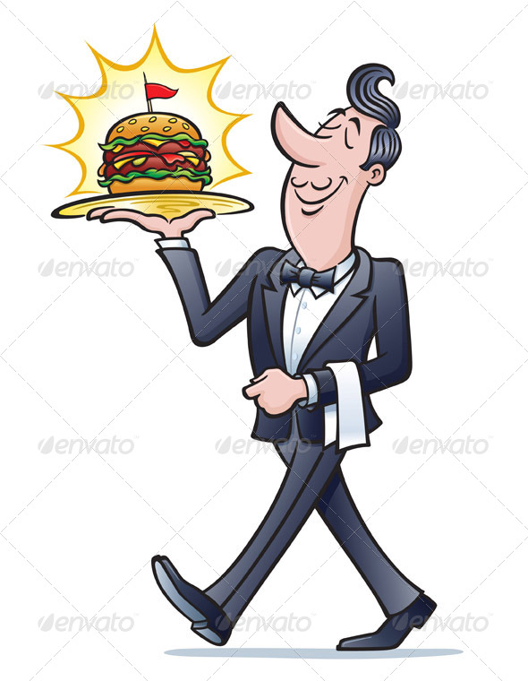 GraphicRiver Waiter Carrying A Burger 8417041