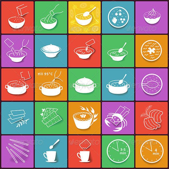 GraphicRiver Flat Fast Food Packaging Cooking Process Icons set 8417345