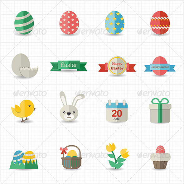 GraphicRiver Celebration Easter Icons 8417385