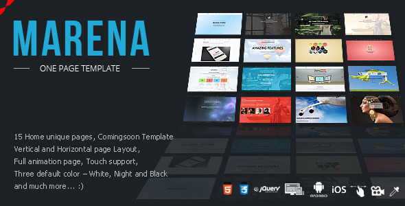 ThemeForest Marena One Page Vertical Horizontal Template 8417546