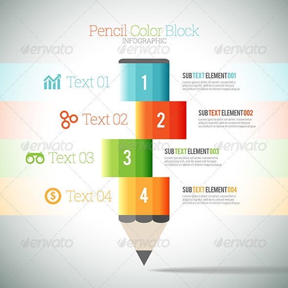 GraphicRiver Pencil Color Block Infographic 8417623