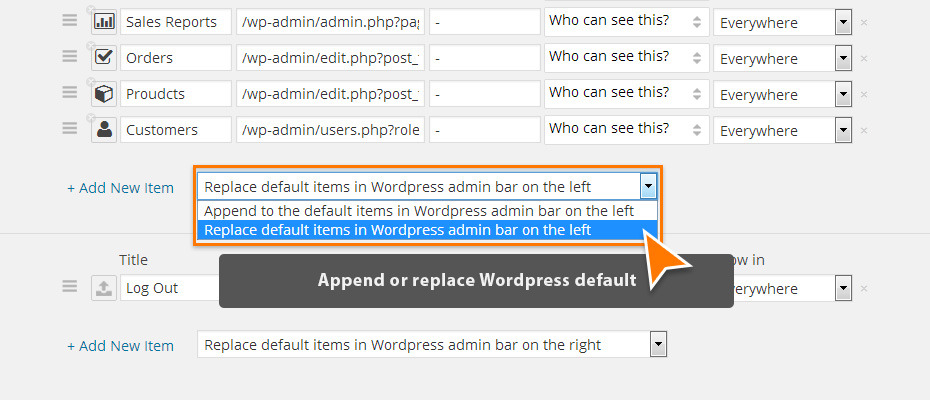 Append or replace the Wordpress default.