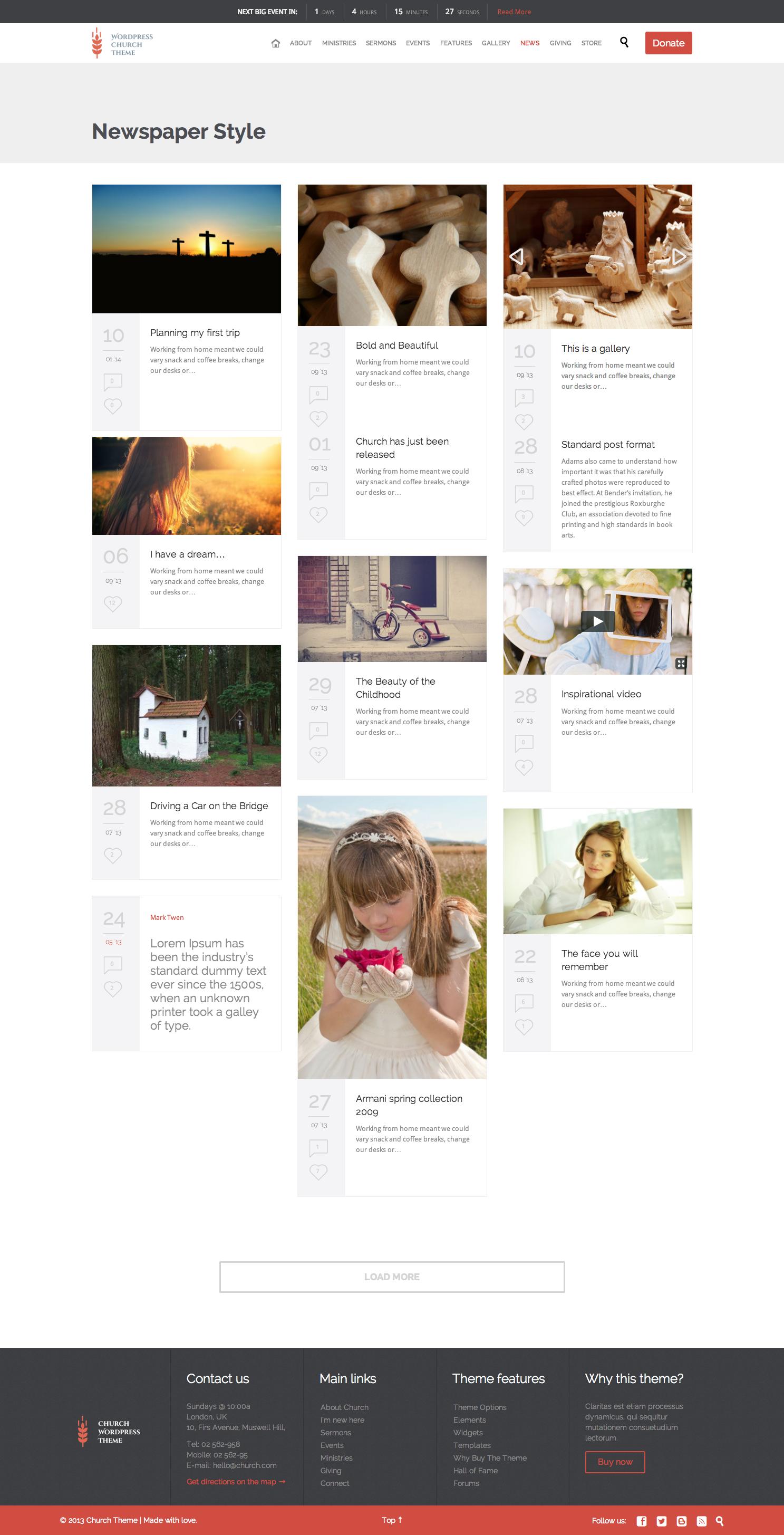 Church and Events - Responsive WordPress Theme