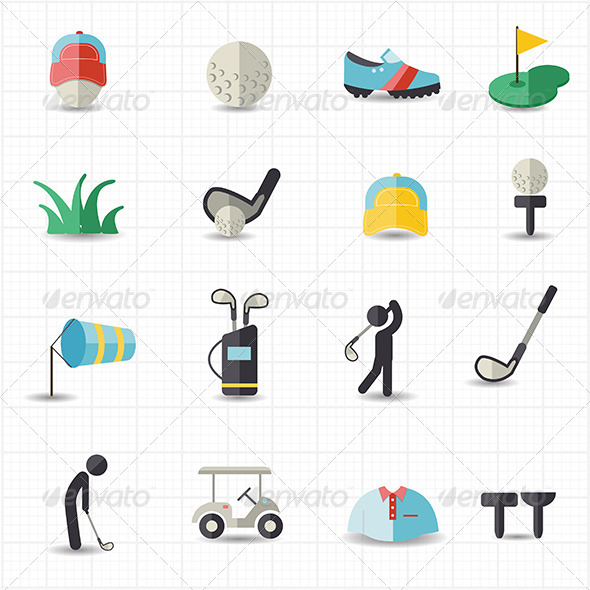 GraphicRiver Golf Sport Icons 8417893