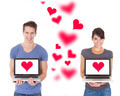 Couple Holding Laptops With Heart Shape - PhotoDune Item for Sale