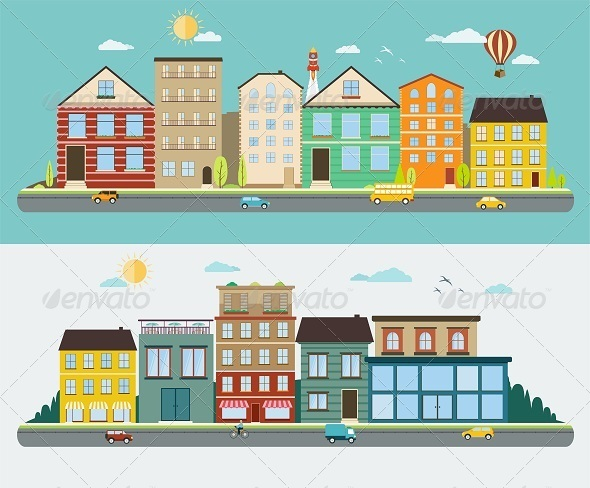 GraphicRiver Town Streets in a Flat Design 8418062