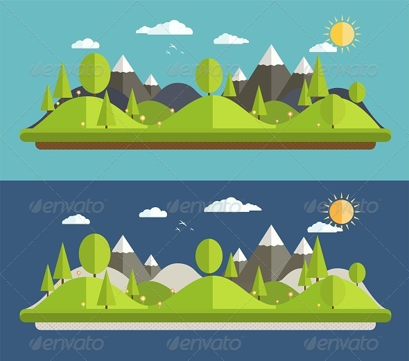 GraphicRiver Natural Landscapes in a Flat Style 8418080