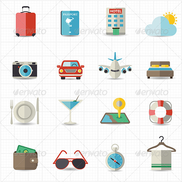 GraphicRiver Travel and Hotel Holiday Icons 8418183