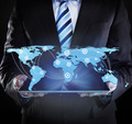 Businessman Holding Digital Tablet With Connected World Map - PhotoDune Item for Sale