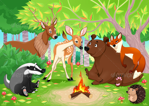 GraphicRiver Animals Stay Together in the Wood 8419068