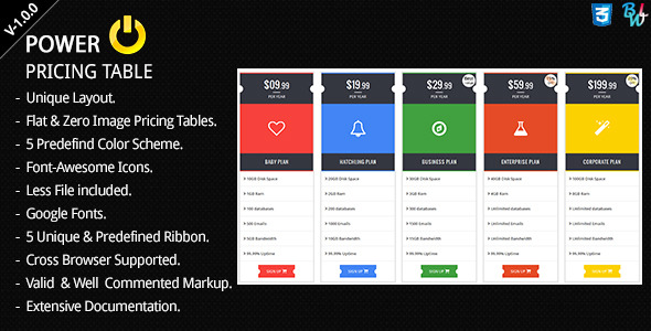 CodeCanyon BWL Power Pricing Table 8408193