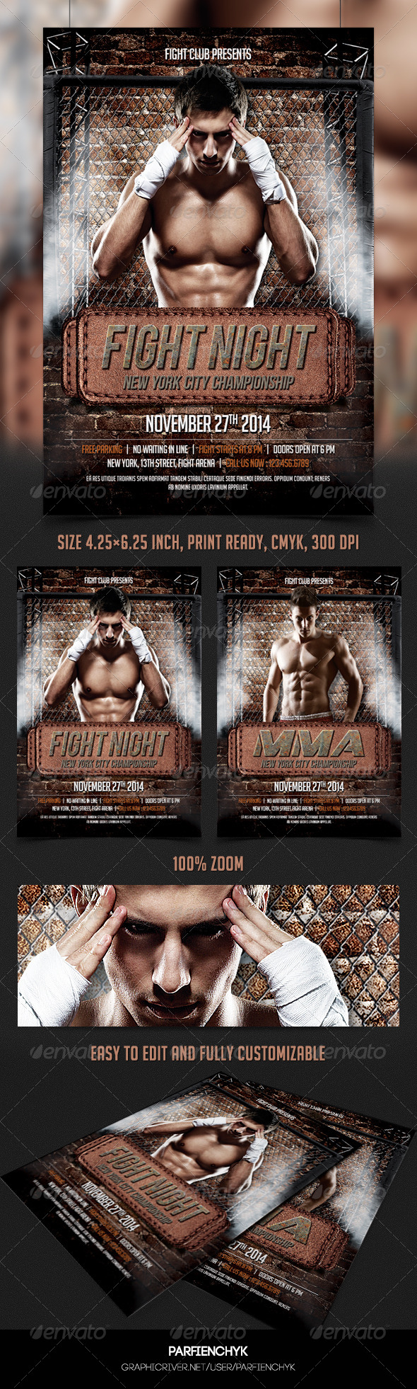 GraphicRiver Fight Night Flyer Template 8419410
