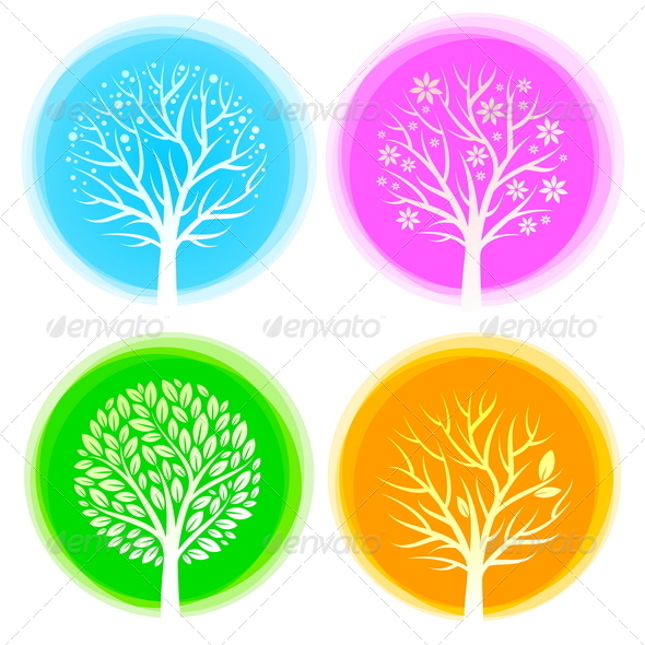 GraphicRiver Four Seasons Vector Trees 8419608