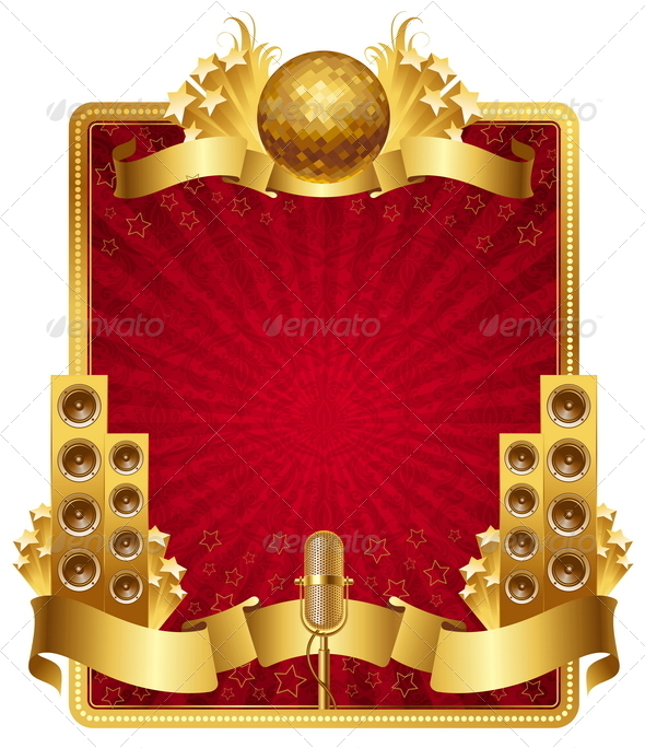 GraphicRiver Frame with Golden Musical Objects 8419662