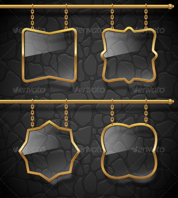 GraphicRiver Golden Frames with Glass Hanging on Chains 8419701