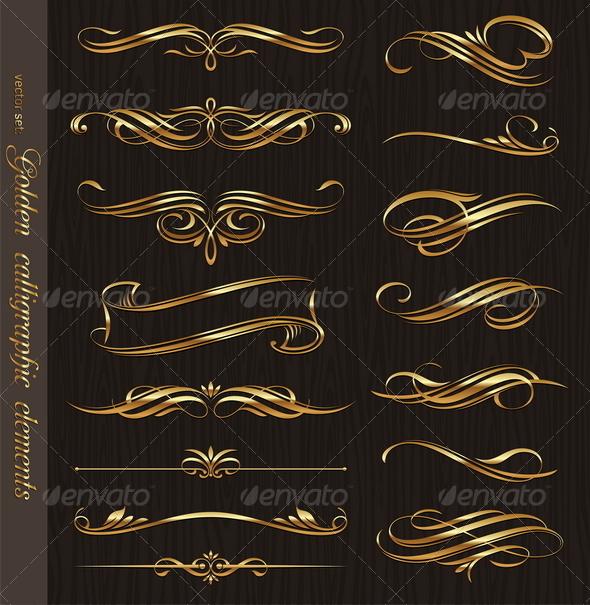 GraphicRiver Golden Calligraphic Vector Design Elements 8419754