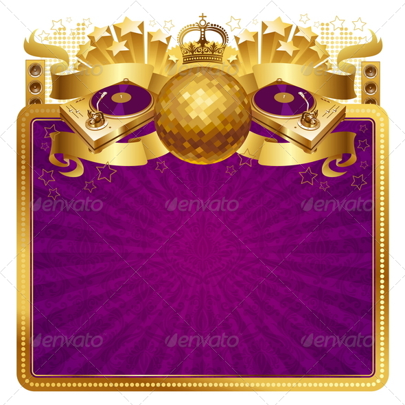 GraphicRiver Golden Frame with Decor and Musical Equipment 8419857