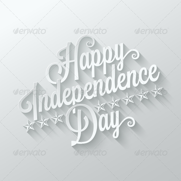 GraphicRiver Independence Day Cut Paper Lettering Background 8420527