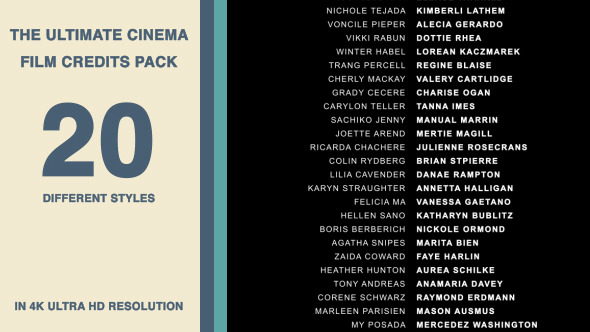 20 Cinema Film Credits Pack
