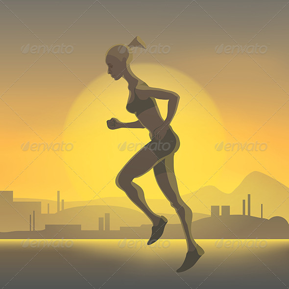 GraphicRiver Silhouette of Running Girl 8422288