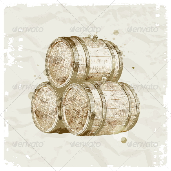 GraphicRiver Hand Drawn Wooden Barrels 8422522