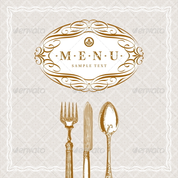 GraphicRiver Menu Design with Vintage Cutleries 8422738