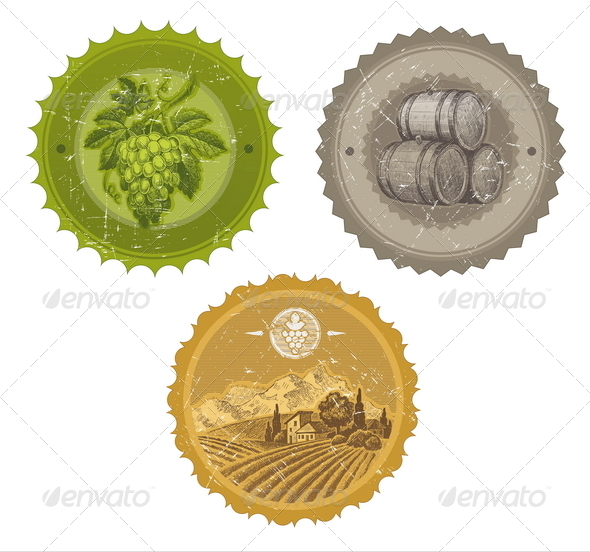 GraphicRiver Vintage Wine Labels with Hand Drawn Elements 8422756