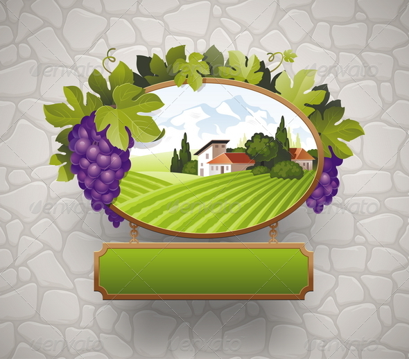 GraphicRiver Vintage Signboard With Grapes 8422812