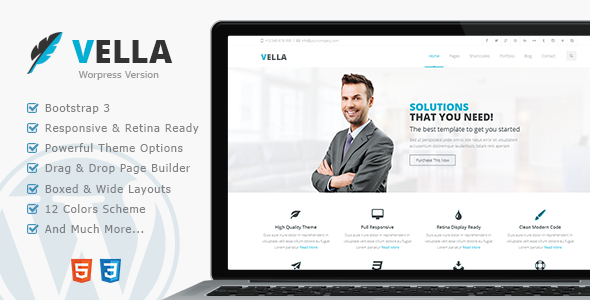 Vella Retina Responsive Multi-Purpose Theme