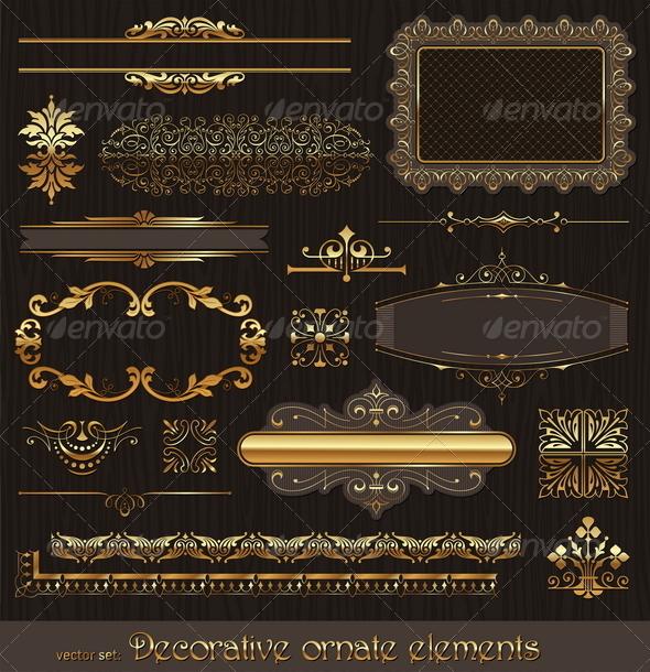 GraphicRiver Set of Golden Page Decor Elements 8422819