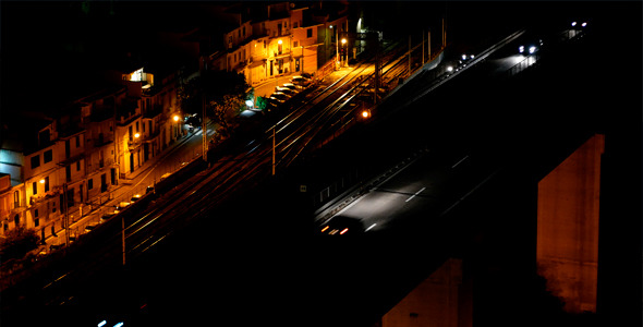 Cars On The Bridge In Night City