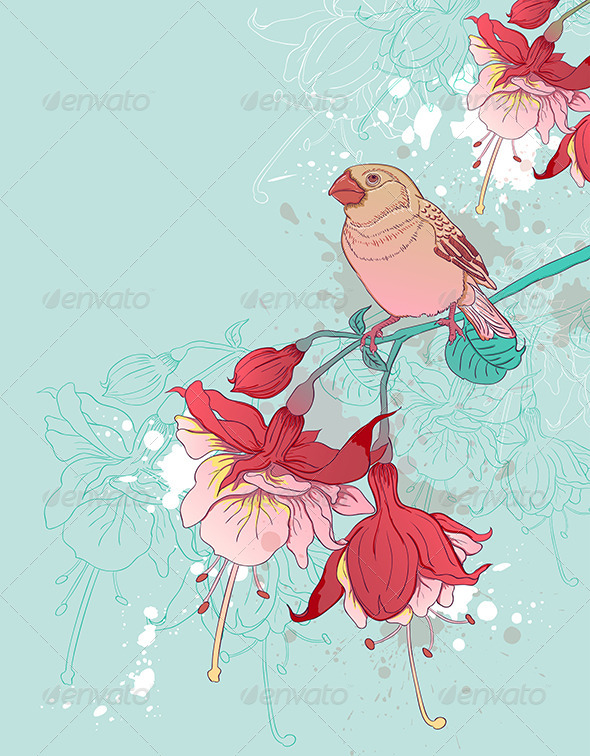 GraphicRiver Red Flowers and Bird 8422998