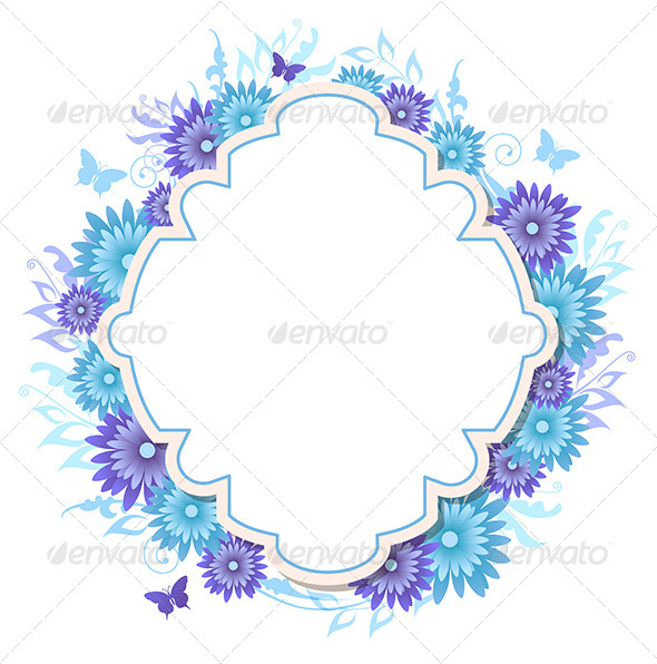 GraphicRiver Background with Blue Flowers 8423033