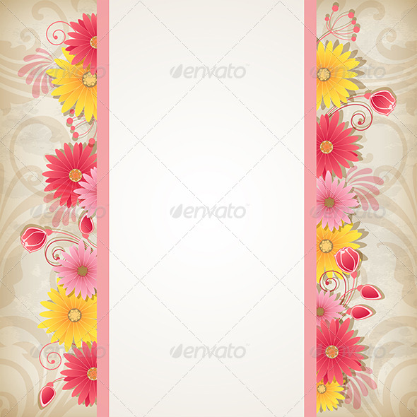 GraphicRiver Background with Red and Yellow Flowers 8423083
