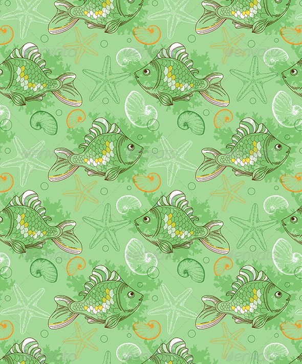 GraphicRiver Seamless Pattern with Tropical Fishes and Shells 8423188