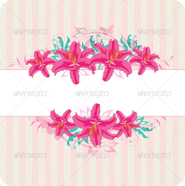 GraphicRiver Striped Background with Red Flowers 8423217