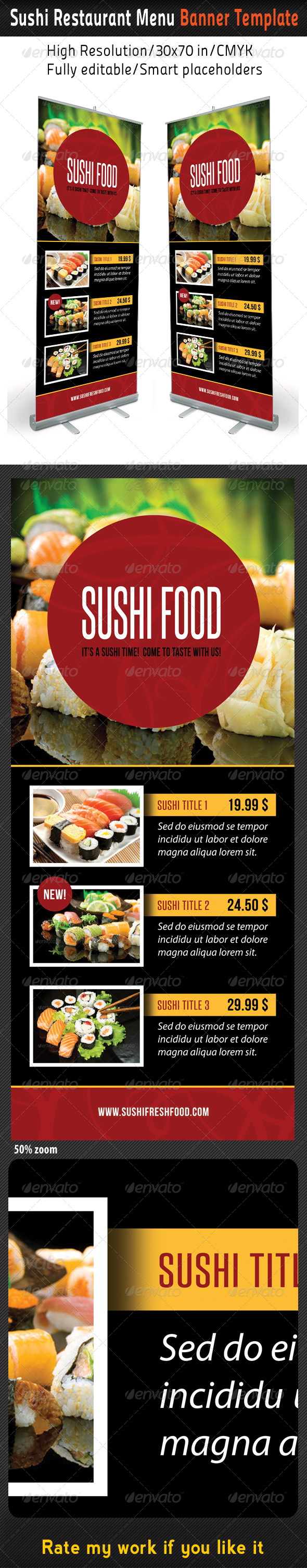 GraphicRiver Sushi Restaurant Menu Banner Template 02 8423220