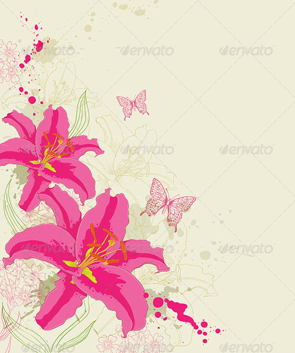 GraphicRiver Abstract Background with Red Flowers 8423228
