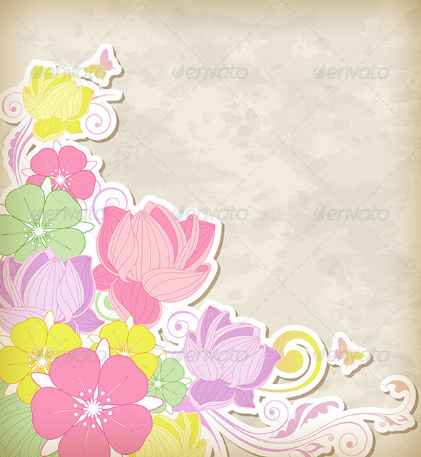GraphicRiver Background with Pink and Yellow Flowers 8423273
